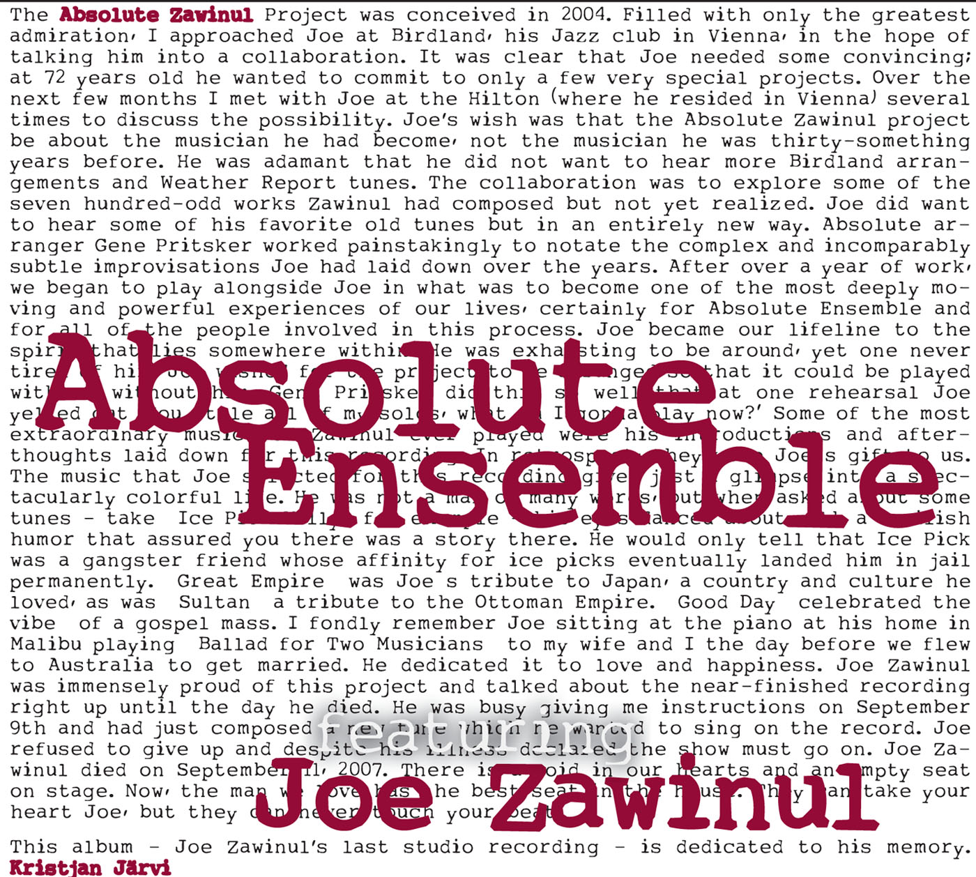 Absolute Zawinul by Absolute Ensemble cover